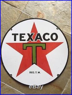 1930 Vintage Heavy Enamel 15 Inch Texaco Gas Pump Sign