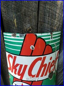 1940 Texaco Sky Chief gas pump Sign. 18inx12. Curved for Visible. Porcelain