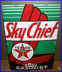 1945 Texaco Sky Chief Gasoline Gas Pump Plate 18 Porcelain Metal Sign