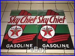 1947 & 1953 VinTage TEXACO SKY CHIEF Gas Pump Plates Station PORCELAIN Sign Oil