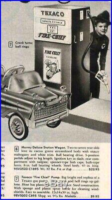 1950s Texaco Wolverine Toys Gas Pump with Original Porcelain Pump Sign