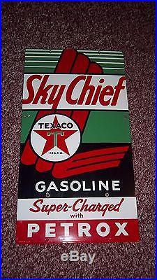 1955 NOS Original Sky Chief TEXACO Petrox Gas Pump Gasoline PORCELAIN SIGN 21X12