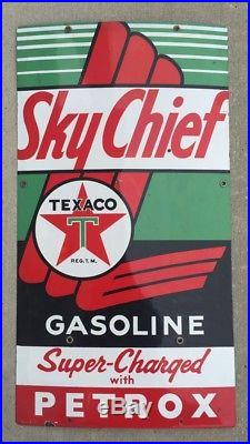 1955 Sky Chief Texaco Gasoline Sign Super-Charged Petrox Gas Pump Porcelain Sign