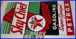 1958 Sky Chief Texaco Gasoline Sign Super-Charged Petrox Gas Pump Porcelain Sign