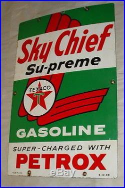 1959 Texaco Skychief Petrox Gas Pump Porcelain Side Plate Sign