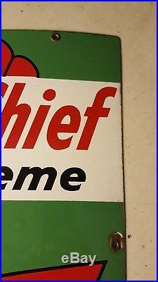 1959 Texaco Sky Chief Gasoline Porcelain Sign Gas Pump