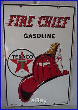 1960s TEXACO Fire Chief Porcelain SIGN Gas Pump Plate Station ORIGINAL 18x12
