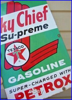 1961 Vintage TEXACO SKY CHIEF SUPREME Porcelain Enamel Gas Pump Advertising Sign