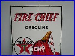 1962 Texaco Fire Chief Porcelain Gas Pump Plate Sign. 18 x 12