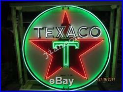 24X24 TEXACO GAS GASOLINE MOTOR OIL PUMP REAL GLASS NEON SIGN Beer Bar LIGHT