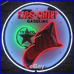 24X24 Texaco Fire Chief Porcelain Gasoline Gas Pump Neon Sign Light FREE SHIP