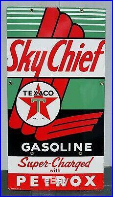 (2) ORIGINAL 1957 Sky Chief Texaco Petrox Gasoline Porcelain Gas Oil Pump Signs