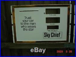 2 Vintage Porcelain Gas Pump Fronts Sky Chief Texaco Panel 255/8 X 16 3/4