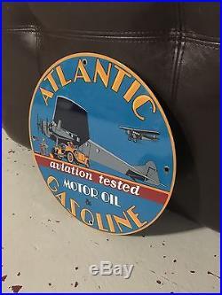 ATLANTIC MOTOR OIL & GASOLINE enamel sign vintage aviation racing gas pump plate