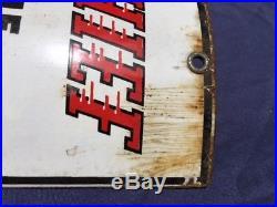 Antique Texaco Fire Chief Visible Gas Pump Porcelain Sign Plate Convex c. 1940's