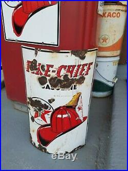 Antique Texaco Porcelain Sign Visible Gas Pump Curved Standard Oil Can Fry Wayne