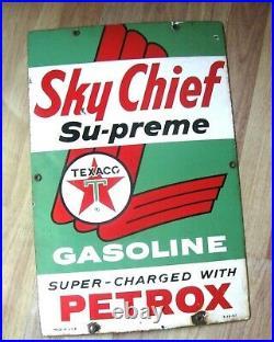 Authentic Vintage 1961 Porcelain Texaco Sky Chief Gas Pump Sign
