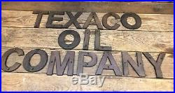 Cast Iron Texaco Oil Company Sign Gas Pump Visible Oil Can Standard Fry Pump