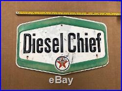 Diesel Chief Texaco Gas Pump Sign Embossed Letters