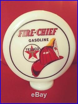 Eco Air Meter Texaco Mini Globe Milk Glass 9x 3 Base Gas Pump Vintage Style