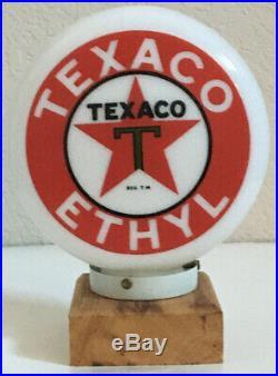 Eco Airmeter Texaco Ethyl Mini Globe Milk Glass 9 3 Base Gas Pump Vintage