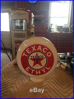 Eco Airmeter Texaco Ethyl Mini Globe Milk Glass 9 X 3 Gas Pump Vintage Style