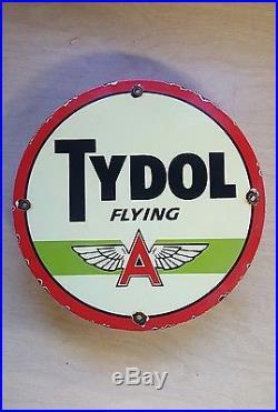 FLYING A TYDOL GASOLINE sign porcelain oil gas pump vintage lubster display