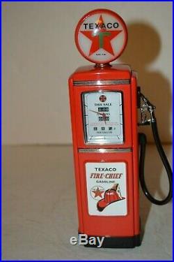 FRANKLIN MINT TEXACO LIGHTED GAS PUMP CLOCK WithCOA