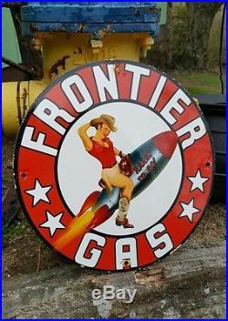 FRONTIER GASOLINE enamel sign vintage aviation racing gas pump plate motor oil
