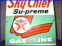 GREAT LOOK 3-9-64 Vintage TEXACO SKY CHIEF SUPREME Old Gas Pump Porcelain Sign