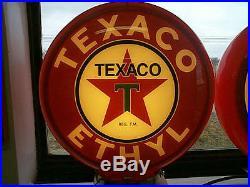Gas pump globe TEXACO ETHYL repo 2 glass lens LIGHT NEW