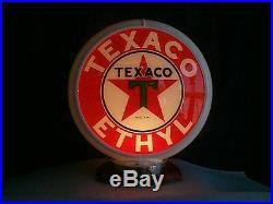Gas pump globe TEXACO ETHYL reproduction 2 glass lense