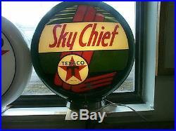 Gas pump globe TEXACO SKY CHIEF & LIGHT STAND NEW repro. 2 GLASS LENSES