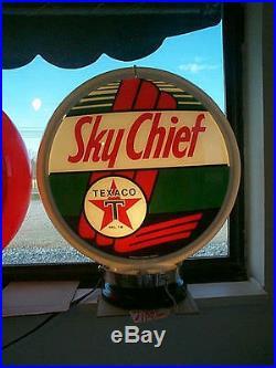 Gas pump globe TEXACO SKY CHIEF NEW repro. 2 GLASS LENSES