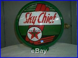 Gas pump globe TEXACO SKY CHIEF NEW repro. 2 GLASS LENSES in a plastic body
