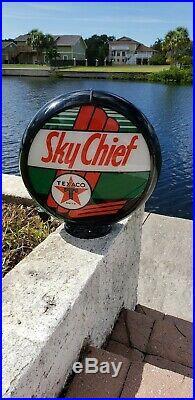 Gas pump globe TEXACO SKY CHIEF repro. NEW racecar auto racing gasoline