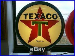 Gas pump globe TEXACO repo. 2 GLASS LENS & LIGHT STAND