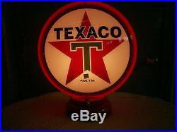 Gas pump globe TEXACO repo. 2 GLASS LENS & LIGHT STAND, NEW, FREE SHIPPING