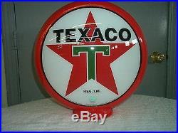 Gas pump globe TEXACO reproduction 2 GLASS LENSES in a RED plastic body NEW