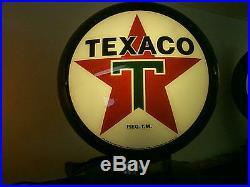 Gas pump globe TEXACO reproduction 2 GLASS LENS in a black plastic body NEW