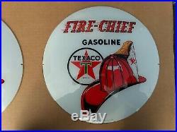Gas pump globe Texaco Fire Chief repro. 2 GLASS LENS 3-7-87 PERFECT