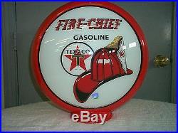 Gas pump globe Texaco Fire Chief repro. 2 GLASS LENS in a plastic body NEW