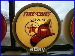 Gas pump globe Texaco Fire Chief repro. & light stand