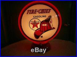 Gas pump globe Texaco Fire Chief repro. & light stand NEW