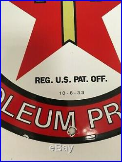 Heavy Antique 1933 Texaco Gasoline 11 3/4 Porcelain On Metal Gas Pump Sign