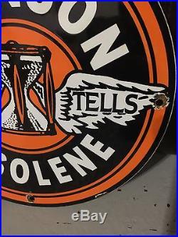 Johnson galolene porcealin enamel sign vintage aviation racing gas pump plate