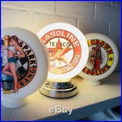 Mini Gas Pump Globe, Texaco Gasoline, Alloy Base LED Desk Lamp, Auto Memorabilia