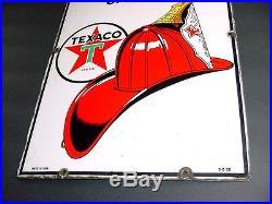 NEAR MINT 1950 Vintage TEXACO FIRE CHIEF Old Gas Pump Porcelain Sign
