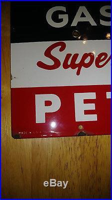 NOS 1955 TEXACO Sky Chief Porcelain Gas Pump Plate Sign