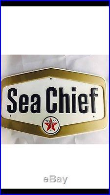NOS Texaco Sea Chief Marine Outboard Motor Gas Pump Tin Sign Day 1 Condition